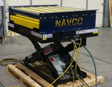 Custom Dual Electromechanical Drive Grid Top Vibrating Table with Integrated Rollers and Scissor Lift